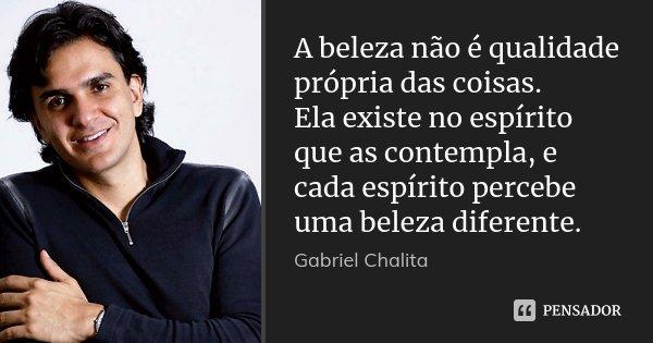A beleza não é qualidade própria das coisas. Ela existe no espírito que as contempla, e cada espírito percebe uma beleza diferente.... Frase de Gabriel Chalita.