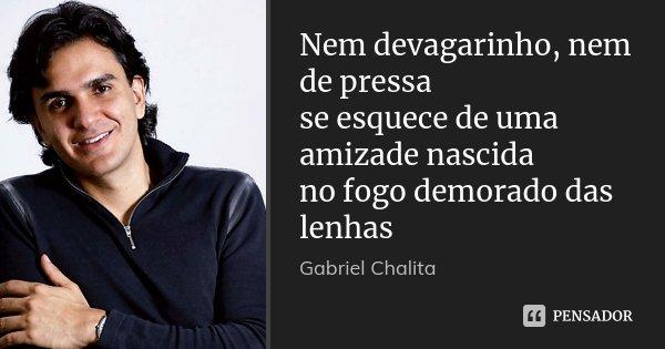 Nem devagarinho, nem de pressa se esquece de uma amizade nascida no fogo demorado das lenhas... Frase de Gabriel Chalita.