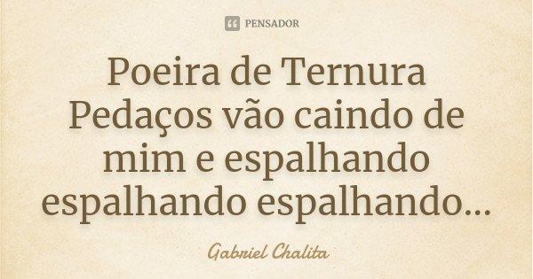Poeira de Ternura Pedaços vão caindo de mim e espalhando espalhando espalhando...... Frase de Gabriel Chalita.
