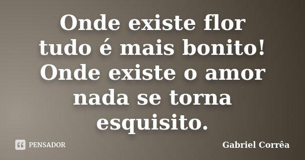 Onde existe flor tudo é mais bonito! Onde existe o amor nada se torna esquisito.... Frase de Gabriel Corrêa.