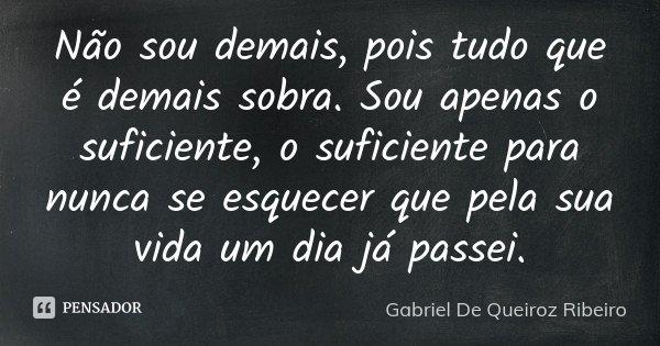Não sou demais, pois tudo que é demais sobra. Sou apenas o suficiente, o suficiente para nunca se esquecer que pela sua vida um dia já passei.... Frase de Gabriel De Queiroz Ribeiro.