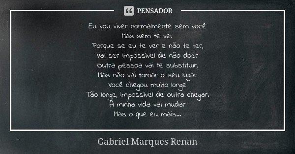 Eu vou viver normalmente sem você Mas sem te ver Porque se eu te ver e não te ter, Vai ser impossível de não doer Outra pessoa vai te substituir, Mas não vai to... Frase de Gabriel Marques Renan.