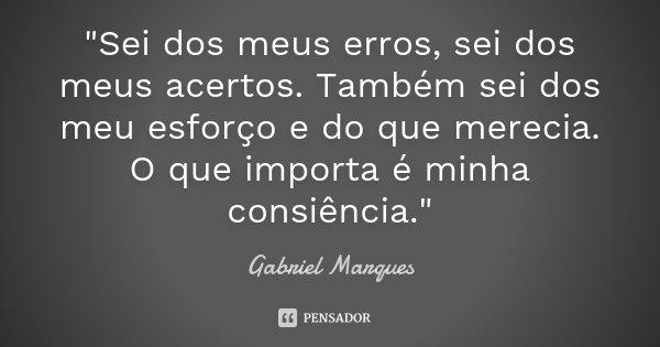 """""""Sei dos meus erros, sei dos meus acertos. Também sei dos meu esforço e do que merecia. O que importa é minha consiência.""""... Frase de Gabriel Marques."""