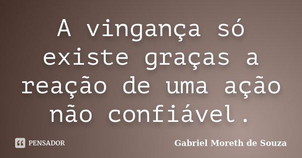 A vingança só existe graças a reação de uma ação não confiável.... Frase de Gabriel Moreth de Souza.
