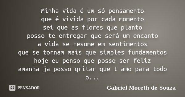 Minha vida é um só pensamento que é vivida por cada momento sei que as flores que planto posso te entregar que será um encanto a vida se resume em sentimentos q... Frase de Gabriel Moreth de Souza.