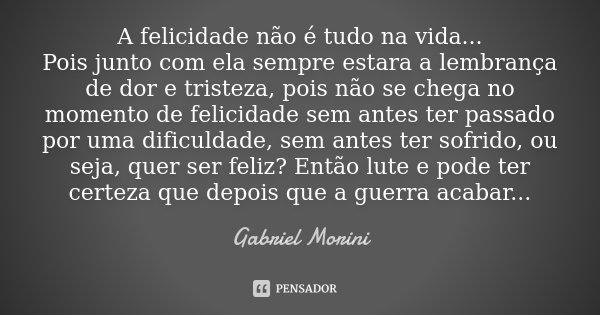 A Felicidade Não é Tudo Na Vida Gabriel Morini