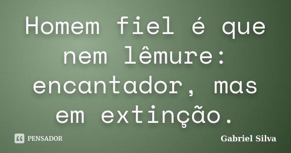 Homem fiel é que nem lêmure: encantador, mas em extinção.... Frase de Gabriel Silva.