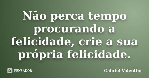 Não perca tempo procurando a felicidade, crie a sua própria felicidade.... Frase de Gabriel Valentim.