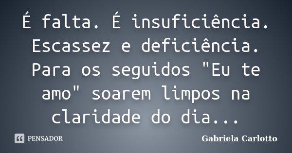 """É falta. É insuficiência. Escassez e deficiência. Para os seguidos """"Eu te amo"""" soarem limpos na claridade do dia...... Frase de Gabriela Carlotto."""
