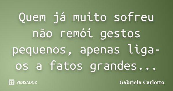 Quem já muito sofreu não remói gestos pequenos, apenas liga-os a fatos grandes...... Frase de Gabriela Carlotto.