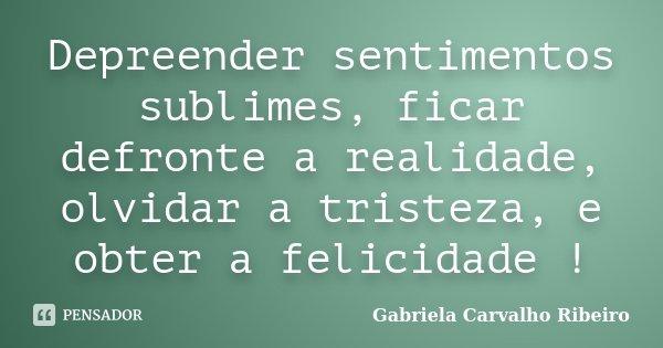 Depreender sentimentos sublimes, ficar defronte a realidade, olvidar a tristeza, e obter a felicidade !... Frase de Gabriela Carvalho Ribeiro.