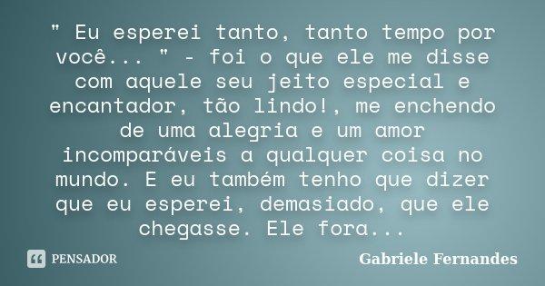 """"""" Eu esperei tanto, tanto tempo por você... """" - foi o que ele me disse com aquele seu jeito especial e encantador, tão lindo!, me enchendo de uma aleg... Frase de Gabriele Fernandes."""