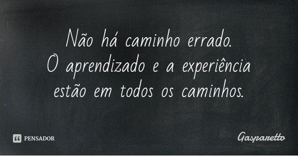 Não há caminho errado. O aprendizado e a experiência estão em todos os caminhos.... Frase de Gasparetto.