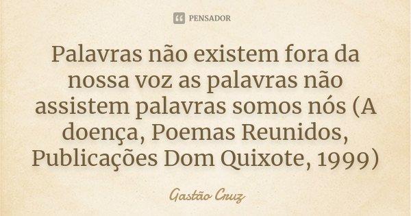 Palavras não existem fora da nossa voz as palavras não assistem palavras somos nós (A doença, Poemas Reunidos, Publicações Dom Quixote, 1999)... Frase de Gastão Cruz.