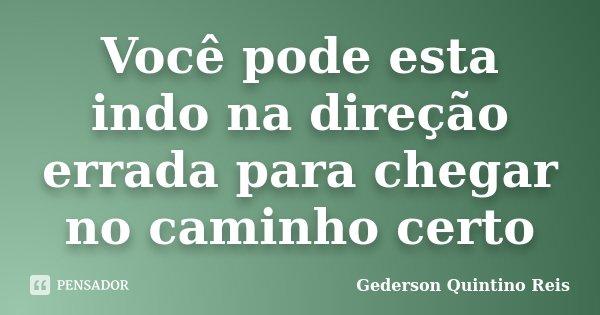 Você pode esta indo na direção errada para chegar no caminho certo... Frase de Gederson Quintino Reis.