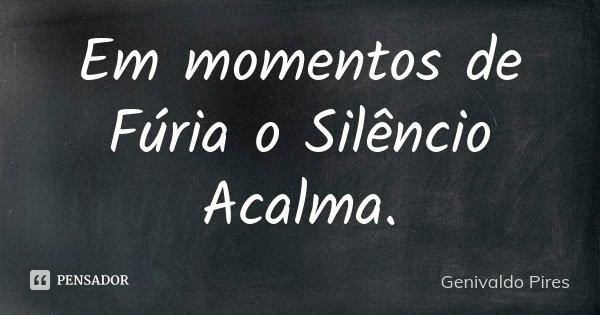 Em momentos de Fúria o Silêncio Acalma.... Frase de Genivaldo Pires.
