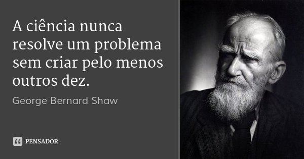 A ciência nunca resolve um problema sem criar pelo menos outros dez.... Frase de George Bernard Shaw.