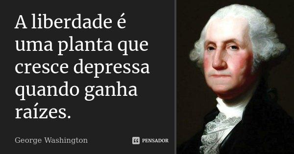 A liberdade é uma planta que cresce depressa, quando ganha raízes.... Frase de George Washington.