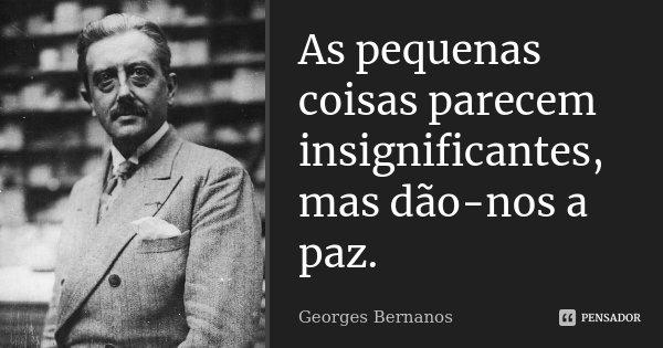 As pequenas coisas parecem insignificantes, mas dão-nos a paz.... Frase de Georges Bernanos.