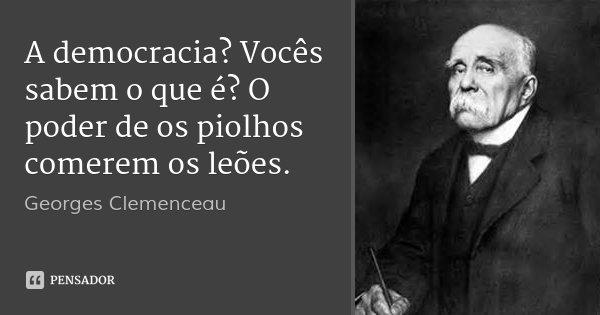 A democracia? Vocês sabem o que é? O poder de os piolhos comerem os leões.... Frase de Georges Clemenceau.
