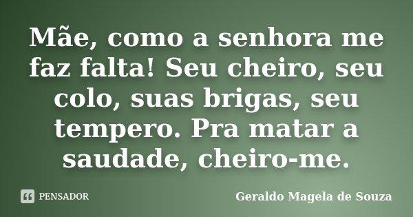 Mãe, como a senhora me faz falta! Seu cheiro, seu colo, suas brigas, seu tempero. Pra matar a saudade, cheiro-me.... Frase de Geraldo Magela de Souza.