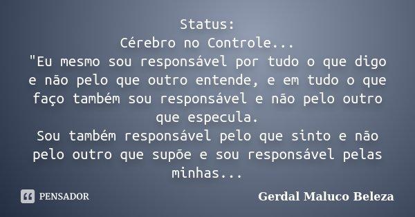 """Status: Cérebro no Controle... """"Eu mesmo sou responsável por tudo o que digo e não pelo que outro entende, e em tudo o que faço também sou responsável e nã... Frase de Gerdal Maluco Beleza."""