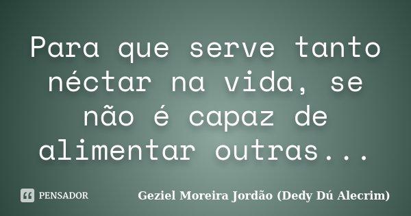 Para que serve tanto néctar na vida, se não é capaz de alimentar outras...... Frase de Geziel Moreira Jordão (Dedy Dú Alecrim).