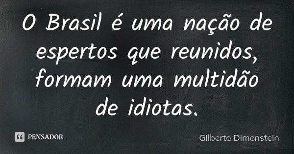 O Brasil é uma nação de espertos que reunidos, formam uma multidão de idiotas.... Frase de Gilberto Dimenstein.
