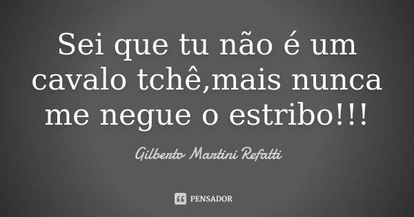 Sei que tu não é um cavalo tchê,mais nunca me negue o estribo!!!... Frase de Gilberto Martini Refatti.