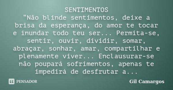 """SENTIMENTOS """"Não blinde sentimentos, deixe a brisa da esperança, do amor te tocar e inundar todo teu ser... Permita-se, sentir, ouvir, dividir, somar, abraçar, ... Frase de Gil Camargos."""