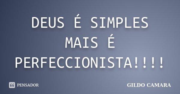 DEUS É SIMPLES MAIS É PERFECCIONISTA!!!!... Frase de GILDO CAMARA.