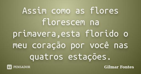Assim como as flores florescem na primavera,esta florido o meu coração por você nas quatros estações.... Frase de Gilmar Fontes.