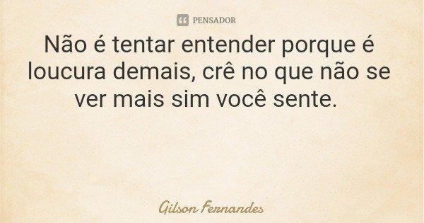 Não é tentar entender porque é loucura demais, crê no que não se ver mais sim você sente.... Frase de Gilson Fernandes.