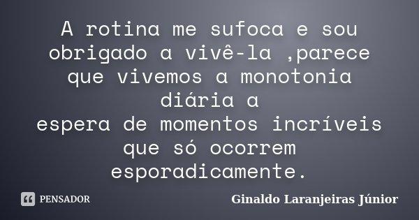 A rotina me sufoca e sou obrigado a vivê-la ,parece que vivemos a monotonia diária a espera de momentos incríveis que só ocorrem esporadicamente.... Frase de Ginaldo Laranjeiras Júnior.