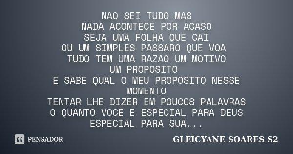 Nao Sei Tudo Mas Nada Acontece Por Acaso Gleicyane Soares S2