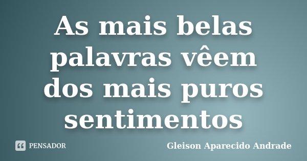 As mais belas palavras vêem dos mais puros sentimentos... Frase de Gleison Aparecido Andrade.