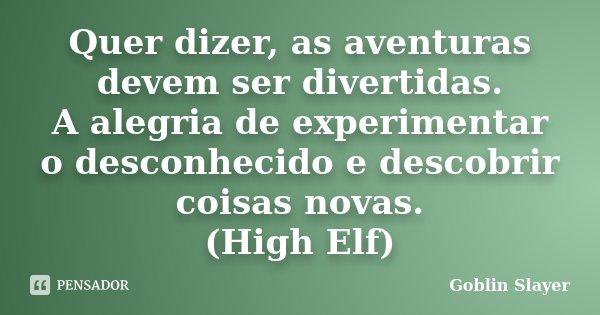 Quer dizer, as aventuras devem ser divertidas. A alegria de experimentar o desconhecido e descobrir coisas novas. (High Elf)... Frase de Goblin Slayer.