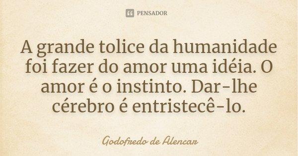 A grande tolice da humanidade foi fazer do amor uma idéia. O amor é o instinto. Dar-lhe cérebro é entristecê-lo.... Frase de Godofredo de Alencar.