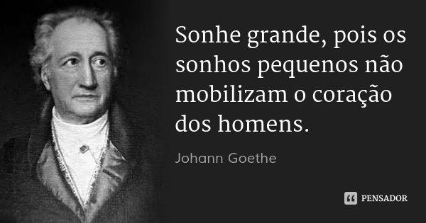 Sonhe grande, pois os sonhos pequenos não mobilizam o coração dos homens.... Frase de Johann Goethe.