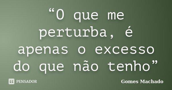"""""""O que me perturba, é apenas o excesso do que não tenho""""... Frase de Gomes Machado."""