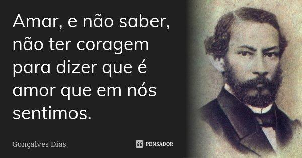 Amar, e não saber, não ter coragem para dizer que é amor que em nós sentimos.... Frase de Gonçalves Dias.