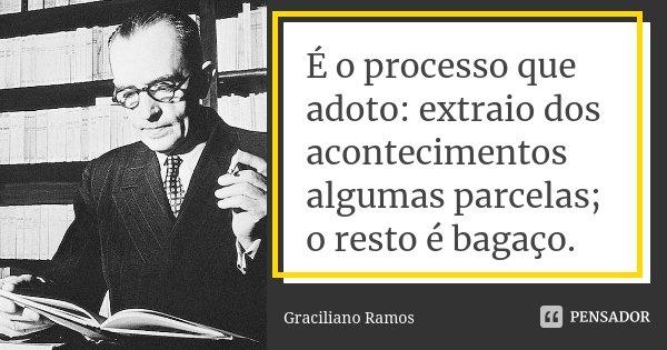 É o processo que adoto: extraio dos acontecimentos algumas parcelas; o resto é bagaço.... Frase de Graciliano Ramos.
