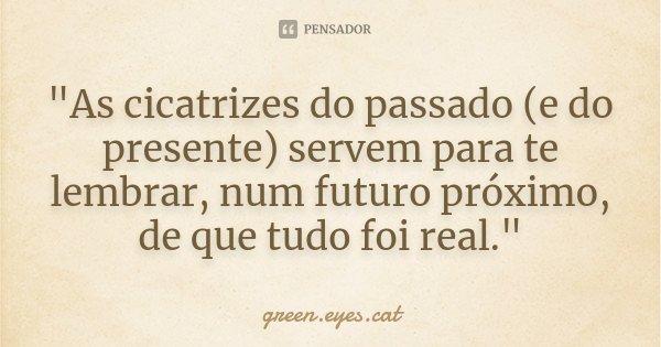 """""""As cicatrizes do passado (e do presente) servem para te lembrar, num futuro próximo, de que tudo foi real.""""... Frase de green.eyes.cat."""
