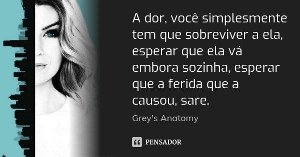 A dor, você simplesmente tem que sobreviver a ela, esperar que ela vá embora sozinha, esperar que a ferida que a causou, sare.... Frase de Grey's Anatomy.