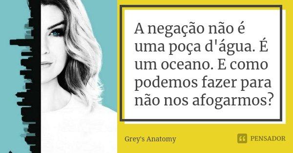 A negação não é uma poça d'água. É um oceano. E como podemos fazer para não nos afogarmos?... Frase de Grey's Anatomy.