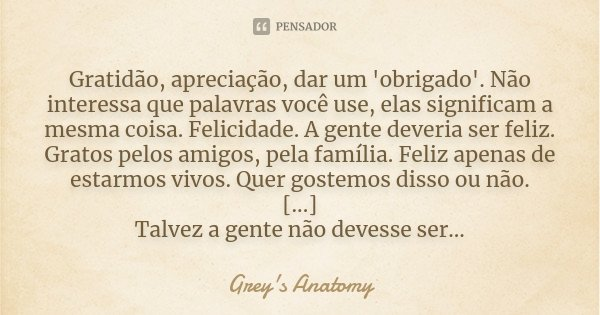 Gratidão, apreciação, dar um 'obrigado'. Não interessa que palavras você use, elas significam a mesma coisa. Felicidade. A gente deveria ser feliz. Gratos pelos... Frase de Grey's Anatomy.