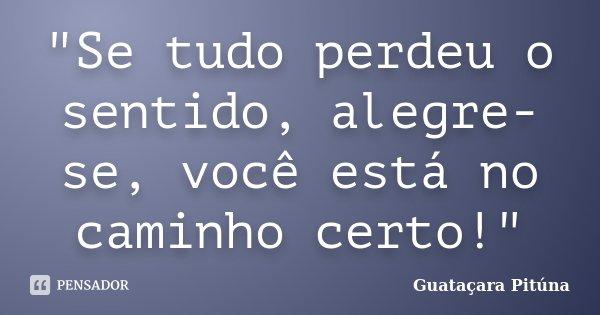 """""""Se tudo perdeu o sentido, alegre-se, você está no caminho certo!""""... Frase de Guataçara Pitúna."""