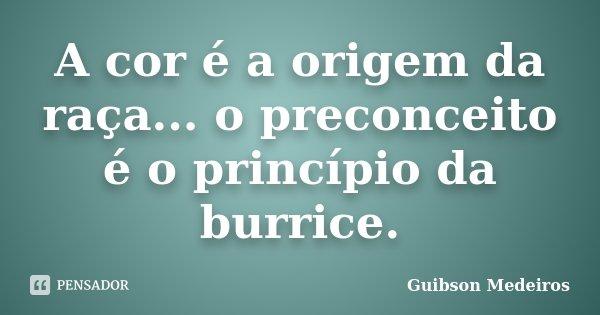 A cor é a origem da raça... o preconceito é o princípio da burrice.... Frase de Guibson Medeiros.