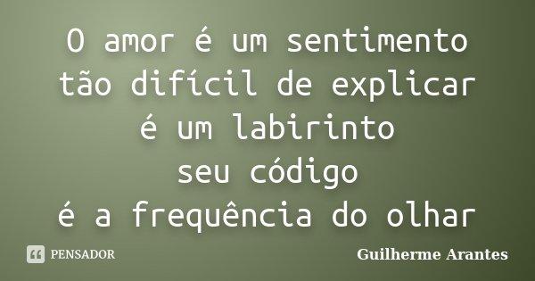 O amor é um sentimento tão difícil de explicar é um labirinto seu código é a frequência do olhar... Frase de Guilherme Arantes.