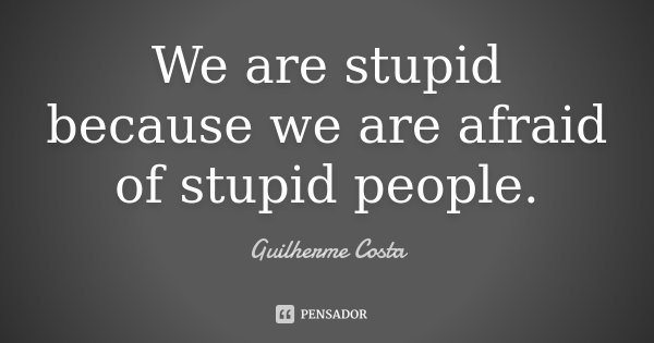 We are stupid because we are afraid of stupid people.... Frase de Guilherme Costa.